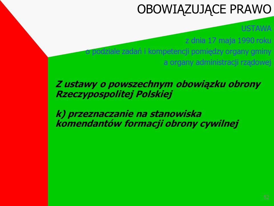 51 Z ustawy o powszechnym obowiązku obrony Rzeczypospolitej Polskiej j) tworzenie formacji obrony cywilnej OBOWIĄZUJĄCE PRAWO USTAWA z dnia 17 maja 19