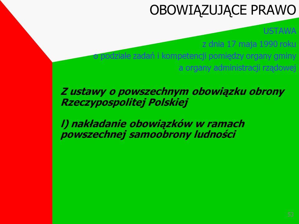 52 Z ustawy o powszechnym obowiązku obrony Rzeczypospolitej Polskiej k) przeznaczanie na stanowiska komendantów formacji obrony cywilnej OBOWIĄZUJĄCE