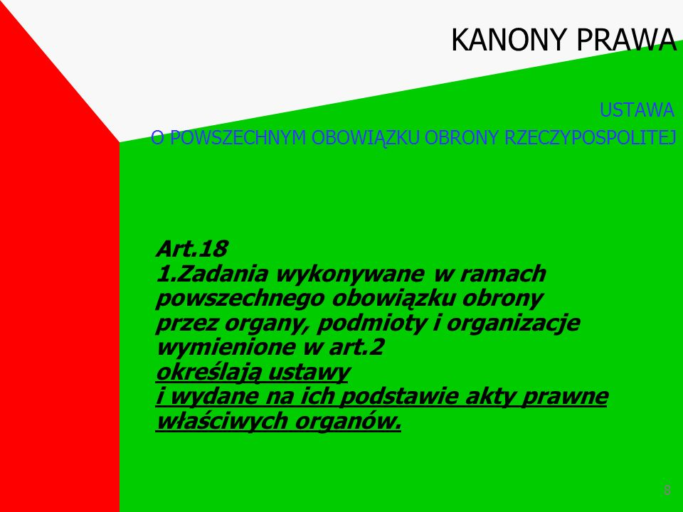 7 Art.1 Obrona Ojczyzny jest sprawą i obowiązkiem wszystkich obywateli Rzeczypospolitej Polskiej. Art.2 Umacnianie obronności Rzeczypospolitej Polskie