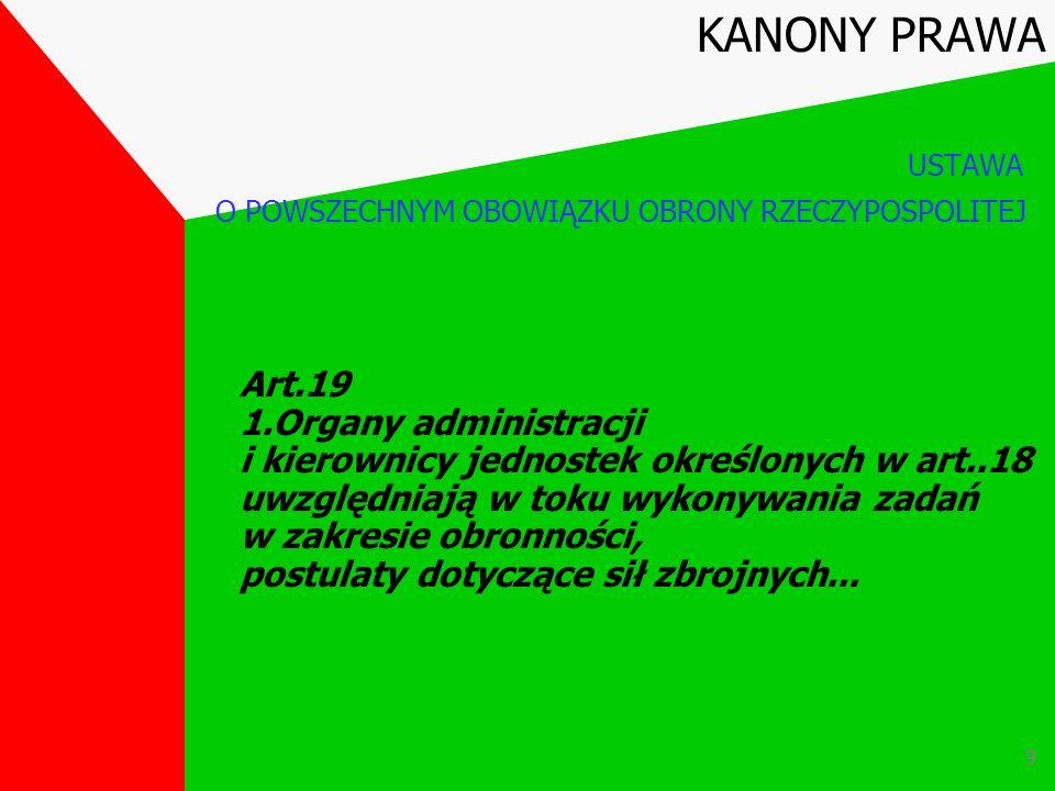 8 Art.18 1.Zadania wykonywane w ramach powszechnego obowiązku obrony przez organy, podmioty i organizacje wymienione w art.2 określają ustawy i wydane
