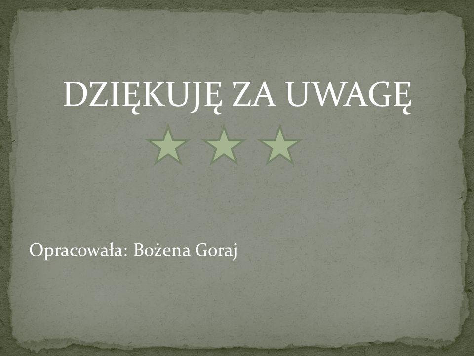 DZIĘKUJĘ ZA UWAGĘ Opracowała: Bożena Goraj