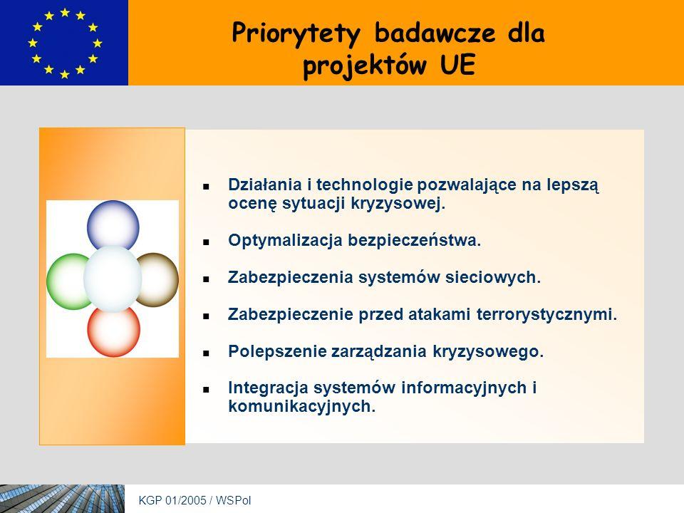 KGP 01/2005 / WSPol Priorytety badawcze dla projektów UE Działania i technologie pozwalające na lepszą ocenę sytuacji kryzysowej.