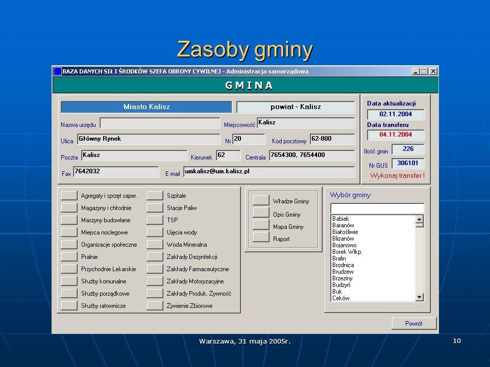 Warszawa, 31 maja 2005r. 10 Zasoby gminy