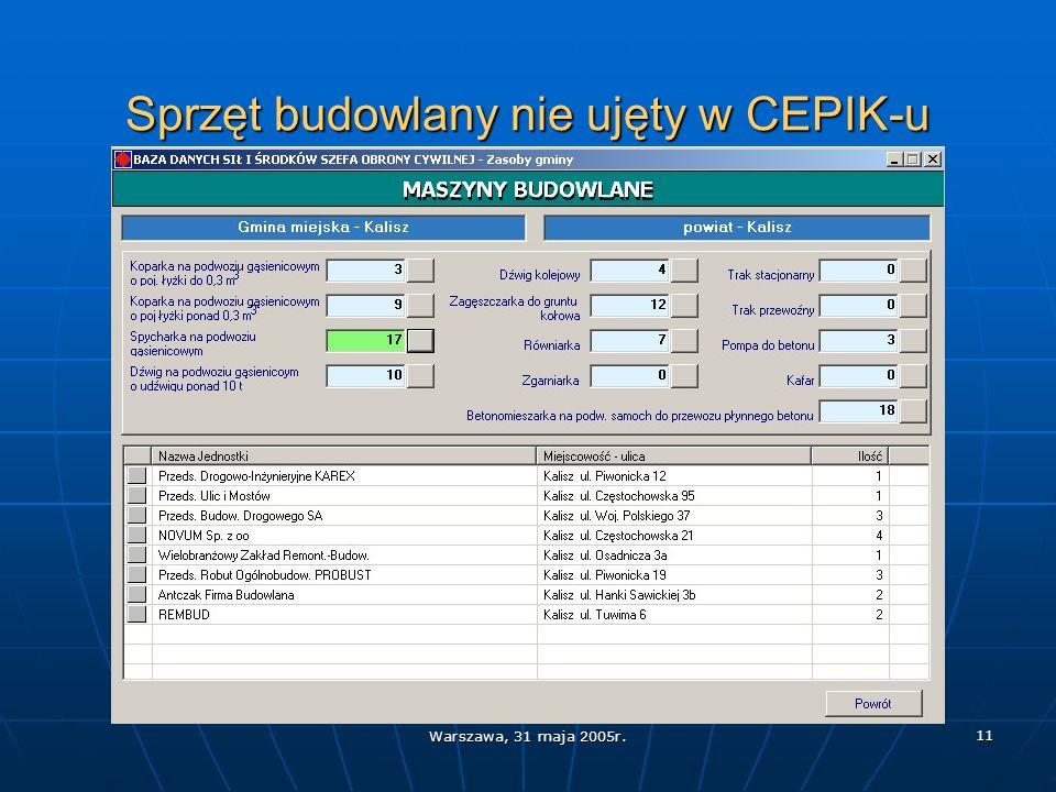 Warszawa, 31 maja 2005r. 11 Sprzęt budowlany nie ujęty w CEPIK-u