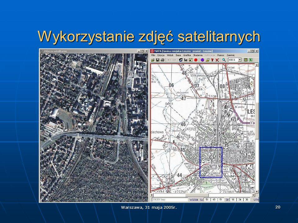 Warszawa, 31 maja 2005r. 20 Wykorzystanie zdjęć satelitarnych