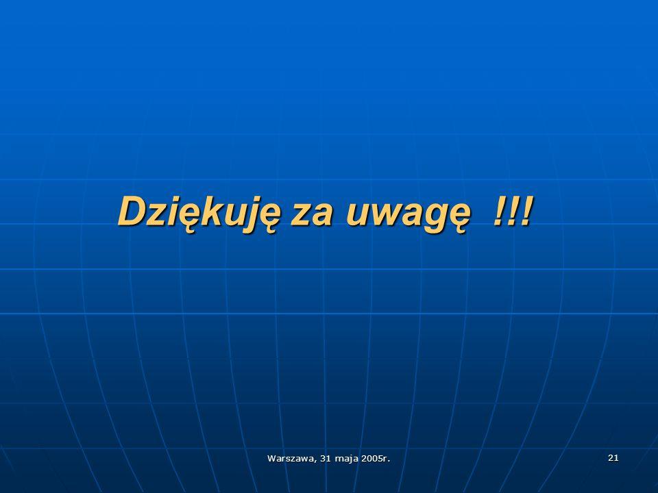 Warszawa, 31 maja 2005r. 21 Dziękuję za uwagę !!!