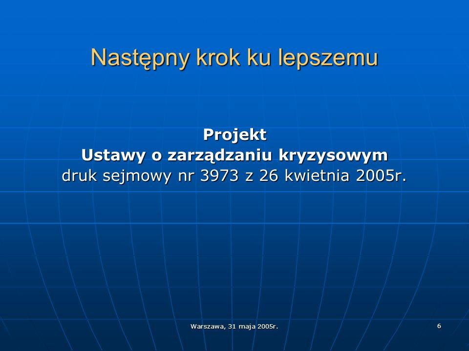 Warszawa, 31 maja 2005r. 6 Następny krok ku lepszemu Projekt Ustawy o zarządzaniu kryzysowym druk sejmowy nr 3973 z 26 kwietnia 2005r.