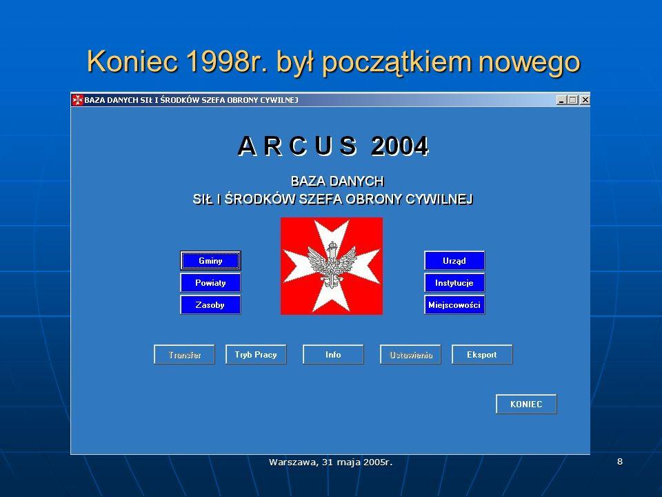 Warszawa, 31 maja 2005r. 8 Koniec 1998r. był początkiem nowego