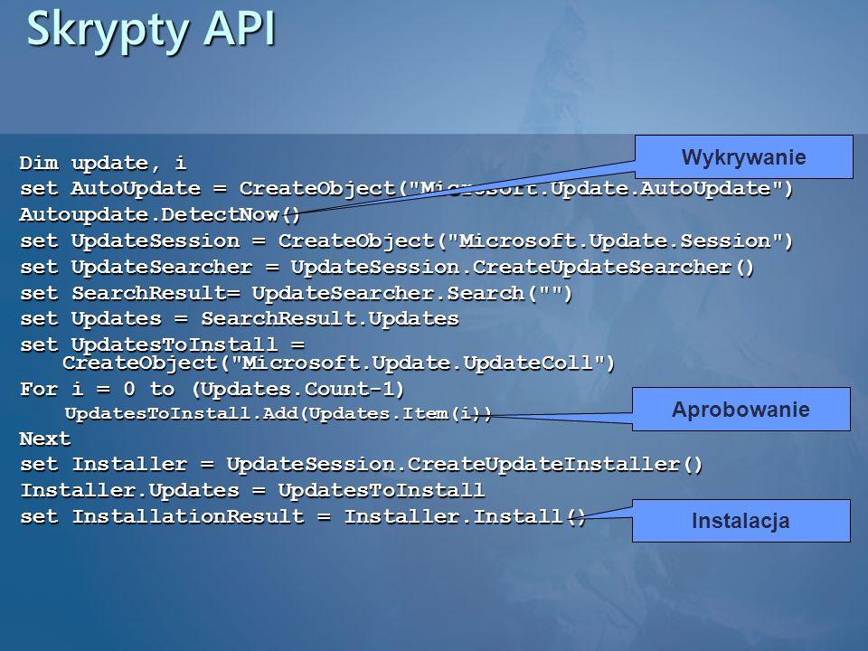 Skrypty API Dim update, i set AutoUpdate = CreateObject(