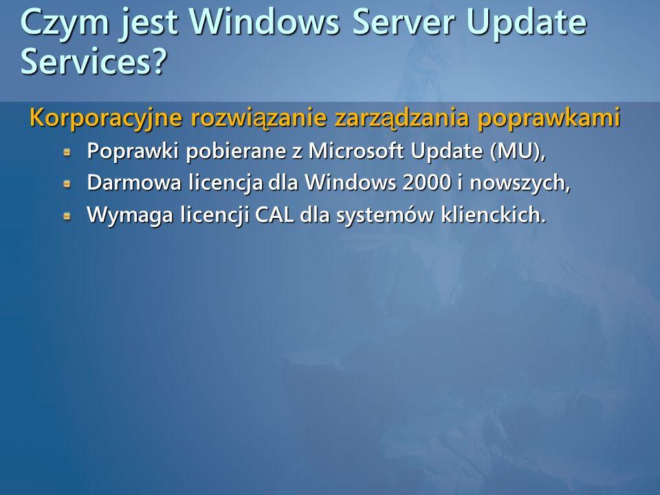 Czym jest Windows Server Update Services? Korporacyjne rozwi ą zanie zarz ą dzania poprawkami Poprawki pobierane z Microsoft Update (MU), Darmowa lice