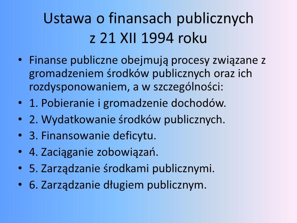 Ustawa o finansach publicznych z 21 XII 1994 roku Finanse publiczne obejmują procesy związane z gromadzeniem środków publicznych oraz ich rozdysponowa