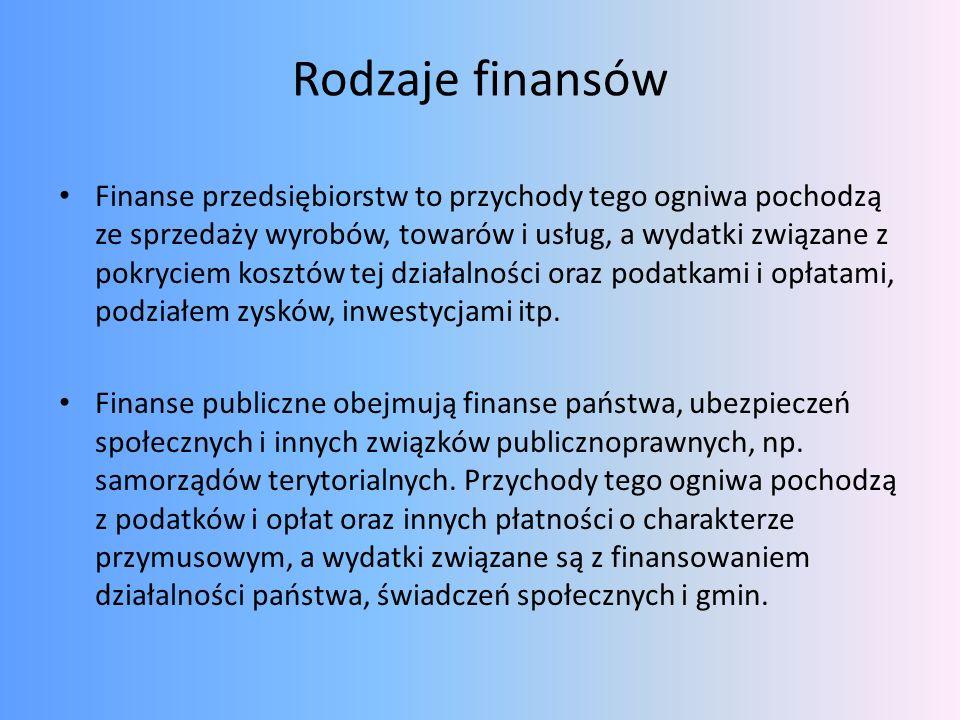 Rodzaje finansów Finanse przedsiębiorstw to przychody tego ogniwa pochodzą ze sprzedaży wyrobów, towarów i usług, a wydatki związane z pokryciem koszt