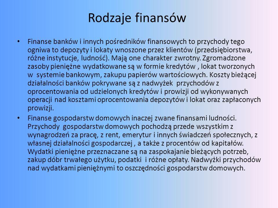 Rodzaje finansów Finanse banków i innych pośredników finansowych to przychody tego ogniwa to depozyty i lokaty wnoszone przez klientów (przedsiębiorst