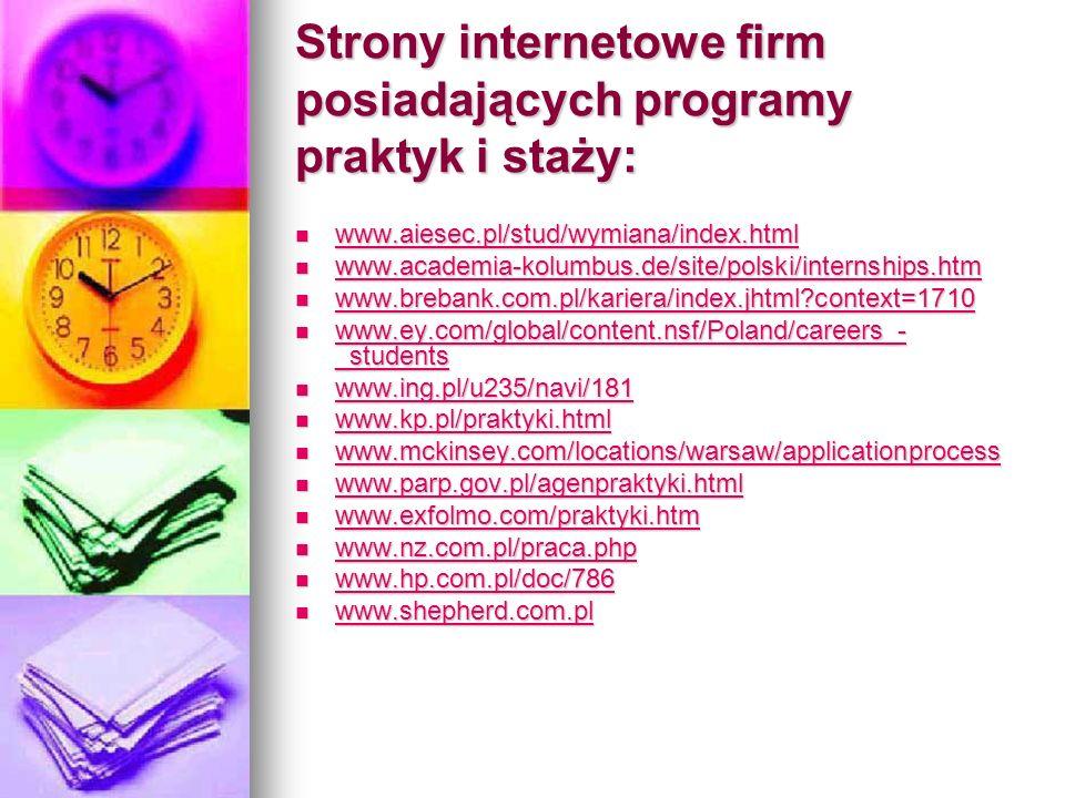 Strony internetowe firm posiadających programy praktyk i staży: www.aiesec.pl/stud/wymiana/index.html www.aiesec.pl/stud/wymiana/index.html www.aiesec