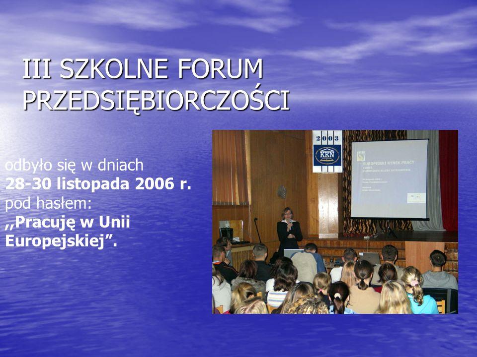 III SZKOLNE FORUM PRZEDSIĘBIORCZOŚCI odbyło się w dniach 28-30 listopada 2006 r.