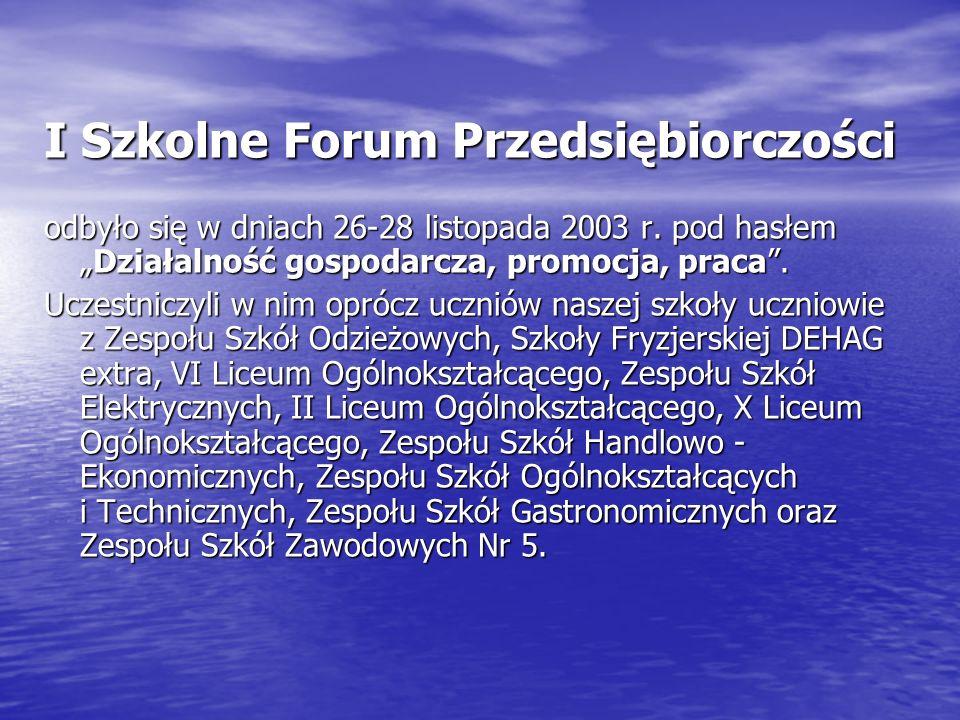I Szkolne Forum Przedsiębiorczości odbyło się w dniach 26-28 listopada 2003 r.