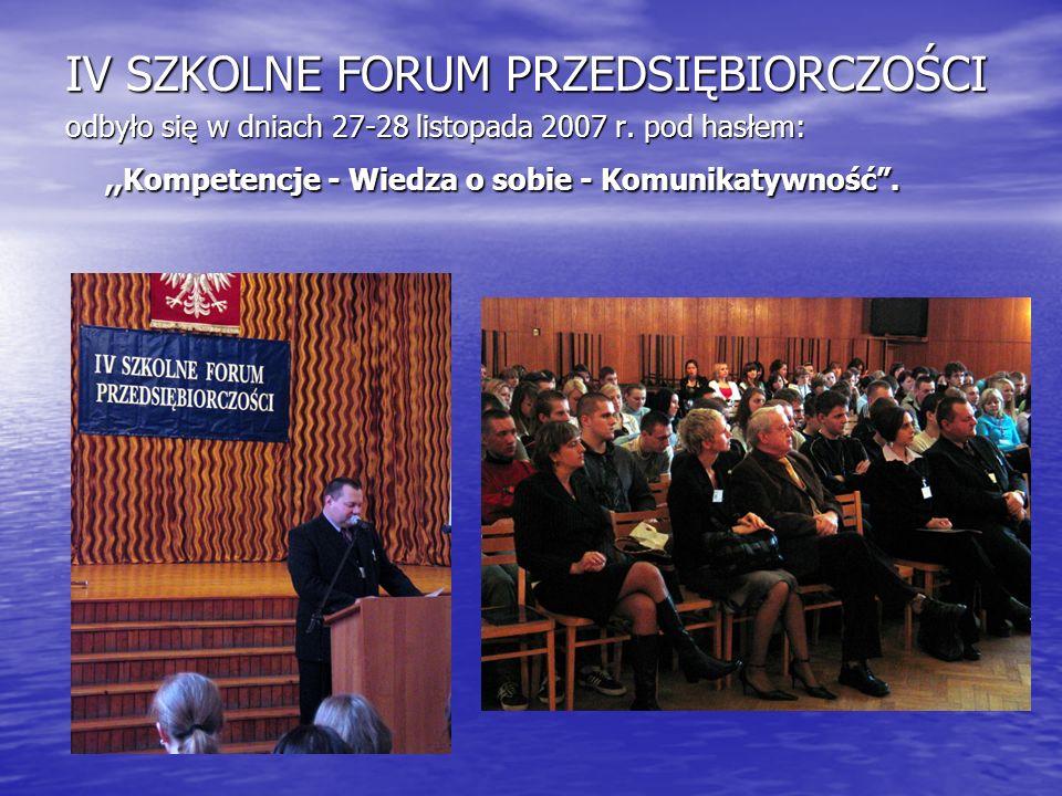 IV SZKOLNE FORUM PRZEDSIĘBIORCZOŚCI odbyło się w dniach 27-28 listopada 2007 r.