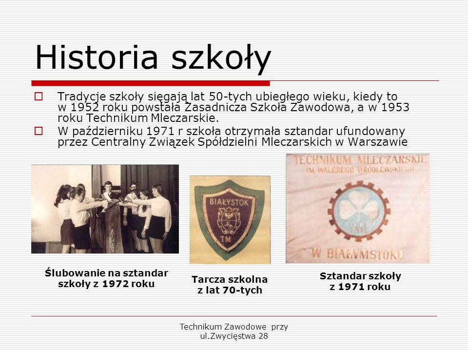 Technikum Zawodowe przy ul.Zwycięstwa 28 Historia szkoły Tradycje szkoły sięgają lat 50-tych ubiegłego wieku, kiedy to w 1952 roku powstała Zasadnicza