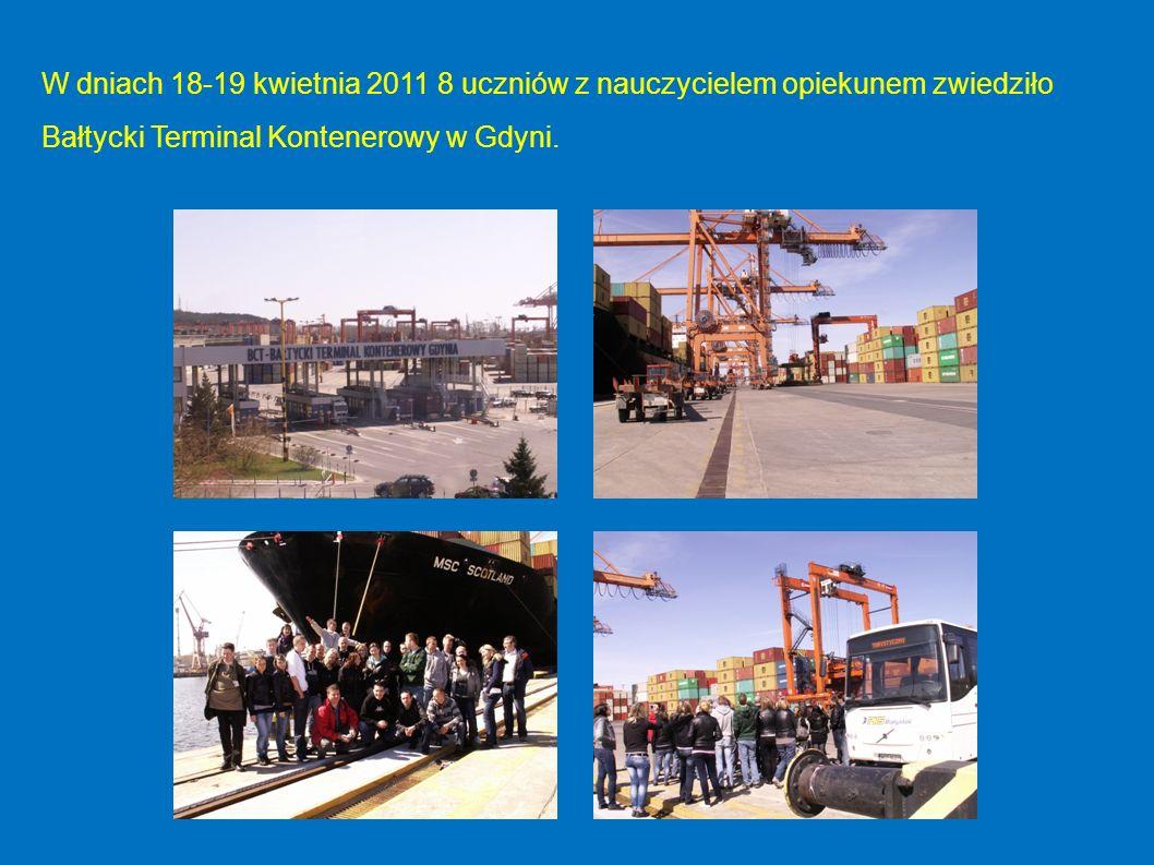 W dniach 18-19 kwietnia 2011 8 uczniów z nauczycielem opiekunem zwiedziło Bałtycki Terminal Kontenerowy w Gdyni.