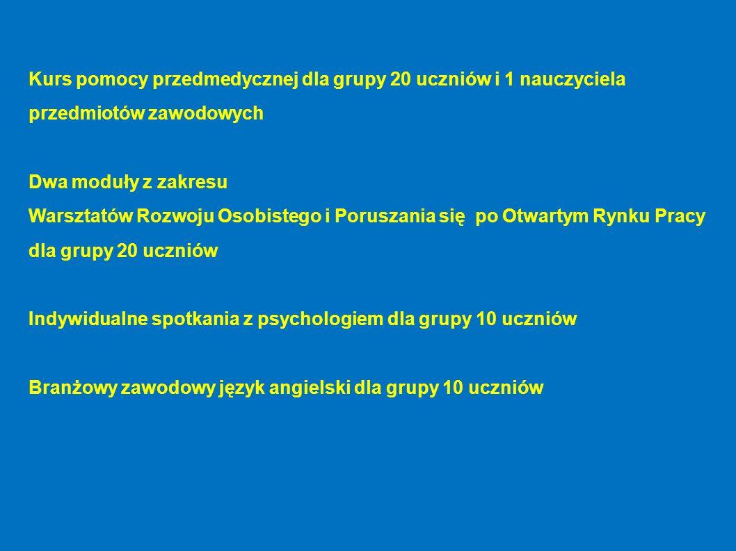 Kurs pomocy przedmedycznej dla grupy 20 uczniów i 1 nauczyciela przedmiotów zawodowych Dwa moduły z zakresu Warsztatów Rozwoju Osobistego i Poruszania