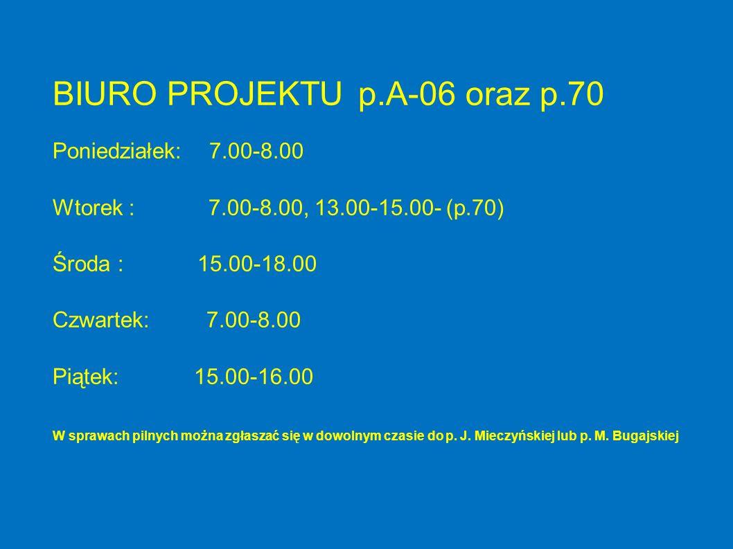 BIURO PROJEKTU p.A-06 oraz p.70 Poniedziałek: 7.00-8.00 Wtorek : 7.00-8.00, 13.00-15.00- (p.70) Środa : 15.00-18.00 Czwartek: 7.00-8.00 Piątek: 15.00-16.00 W sprawach pilnych można zgłaszać się w dowolnym czasie do p.
