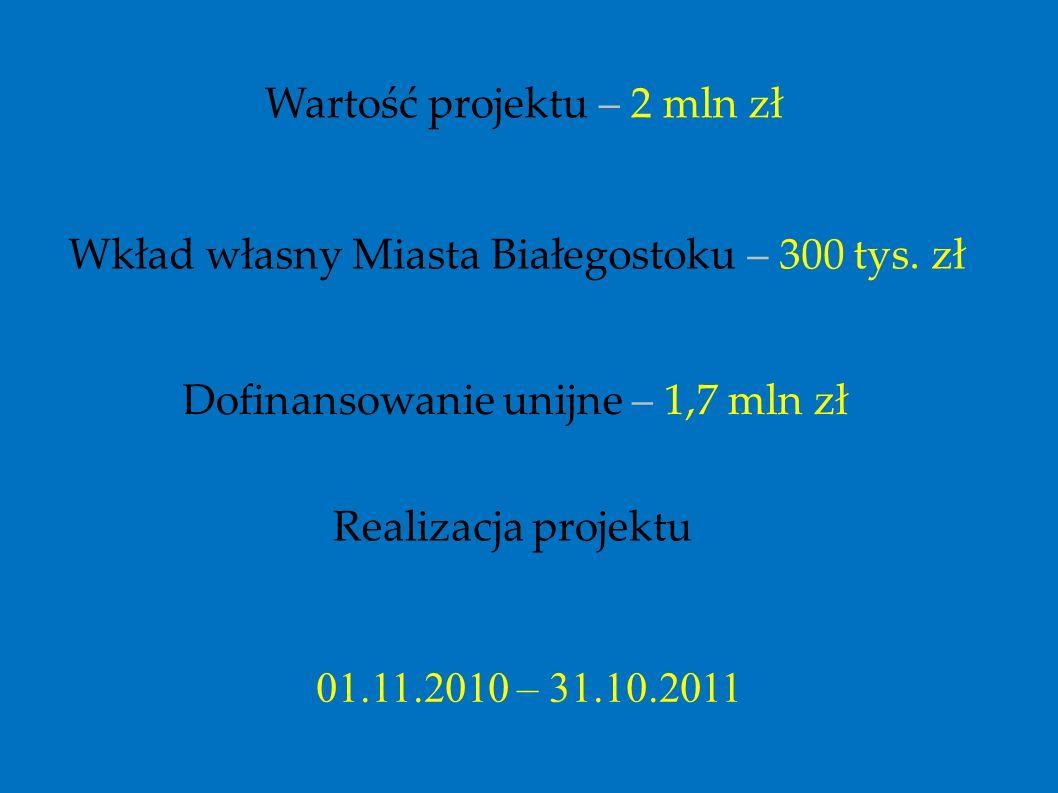 Wartość projektu – 2 mln zł Wkład własny Miasta Białegostoku – 300 tys. zł Dofinansowanie unijne – 1,7 mln zł Realizacja projektu 01.11.2010 – 31.10.2