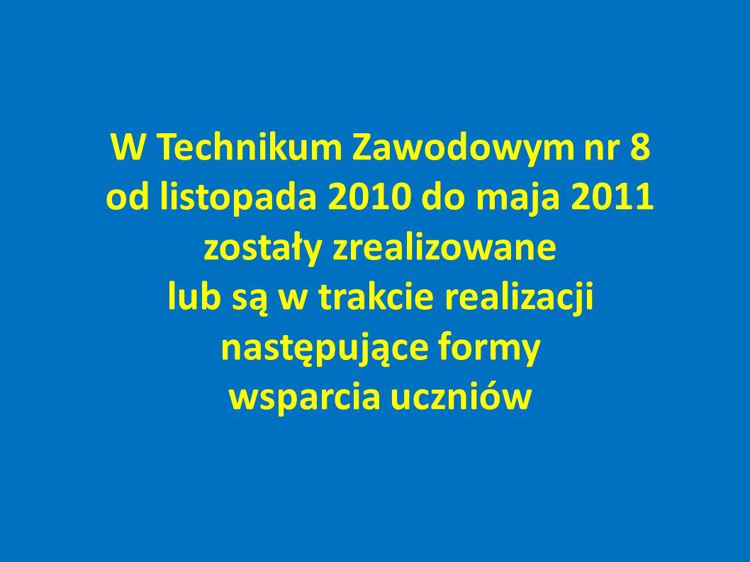 W Technikum Zawodowym nr 8 od listopada 2010 do maja 2011 zostały zrealizowane lub są w trakcie realizacji następujące formy wsparcia uczniów