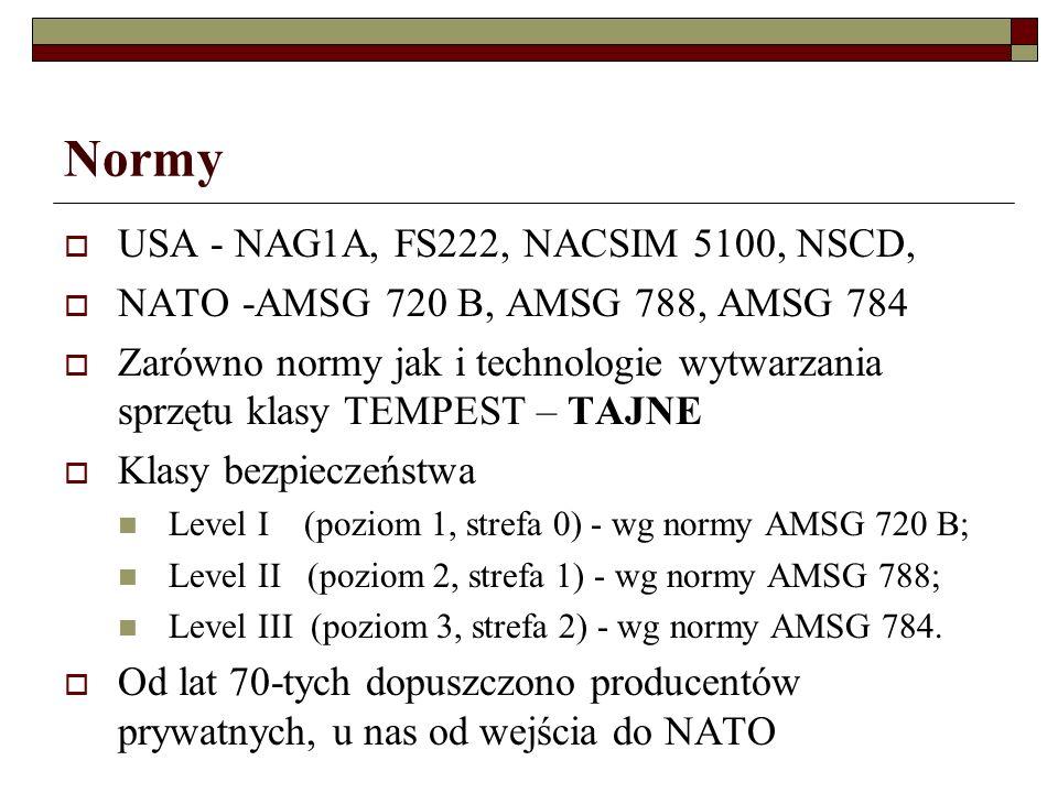 Normy USA - NAG1A, FS222, NACSIM 5100, NSCD, NATO -AMSG 720 B, AMSG 788, AMSG 784 Zarówno normy jak i technologie wytwarzania sprzętu klasy TEMPEST – TAJNE Klasy bezpieczeństwa Level I (poziom 1, strefa 0) - wg normy AMSG 720 B; Level II (poziom 2, strefa 1) - wg normy AMSG 788; Level III (poziom 3, strefa 2) - wg normy AMSG 784.