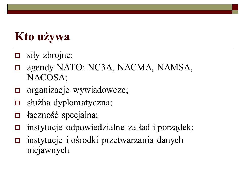 Kto używa siły zbrojne; agendy NATO: NC3A, NACMA, NAMSA, NACOSA; organizacje wywiadowcze; służba dyplomatyczna; łączność specjalna; instytucje odpowiedzialne za ład i porządek; instytucje i ośrodki przetwarzania danych niejawnych