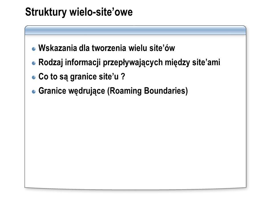 Struktury wielo-siteowe Wskazania dla tworzenia wielu siteów Rodzaj informacji przepływających między siteami Co to są granice siteu ? Granice wędrują