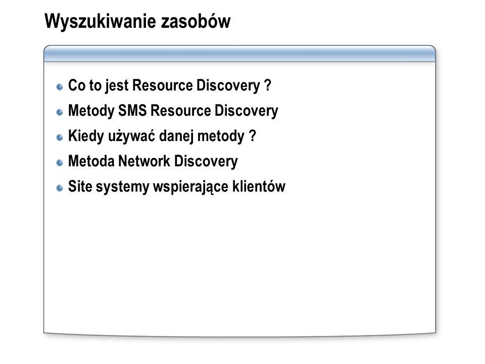 Wyszukiwanie zasobów Co to jest Resource Discovery ? Metody SMS Resource Discovery Kiedy używać danej metody ? Metoda Network Discovery Site systemy w