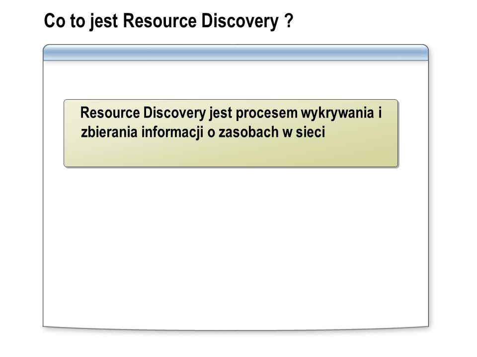 Co to jest Resource Discovery ? Resource Discovery jest procesem wykrywania i zbierania informacji o zasobach w sieci