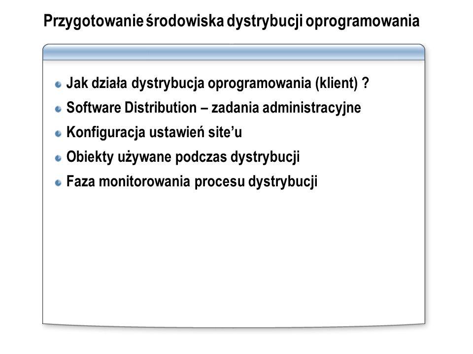 Przygotowanie środowiska dystrybucji oprogramowania Jak działa dystrybucja oprogramowania (klient) ? Software Distribution – zadania administracyjne K
