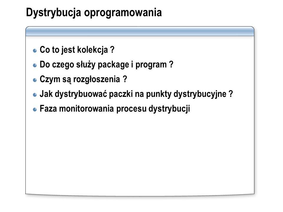Dystrybucja oprogramowania Co to jest kolekcja ? Do czego służy package i program ? Czym są rozgłoszenia ? Jak dystrybuować paczki na punkty dystrybuc