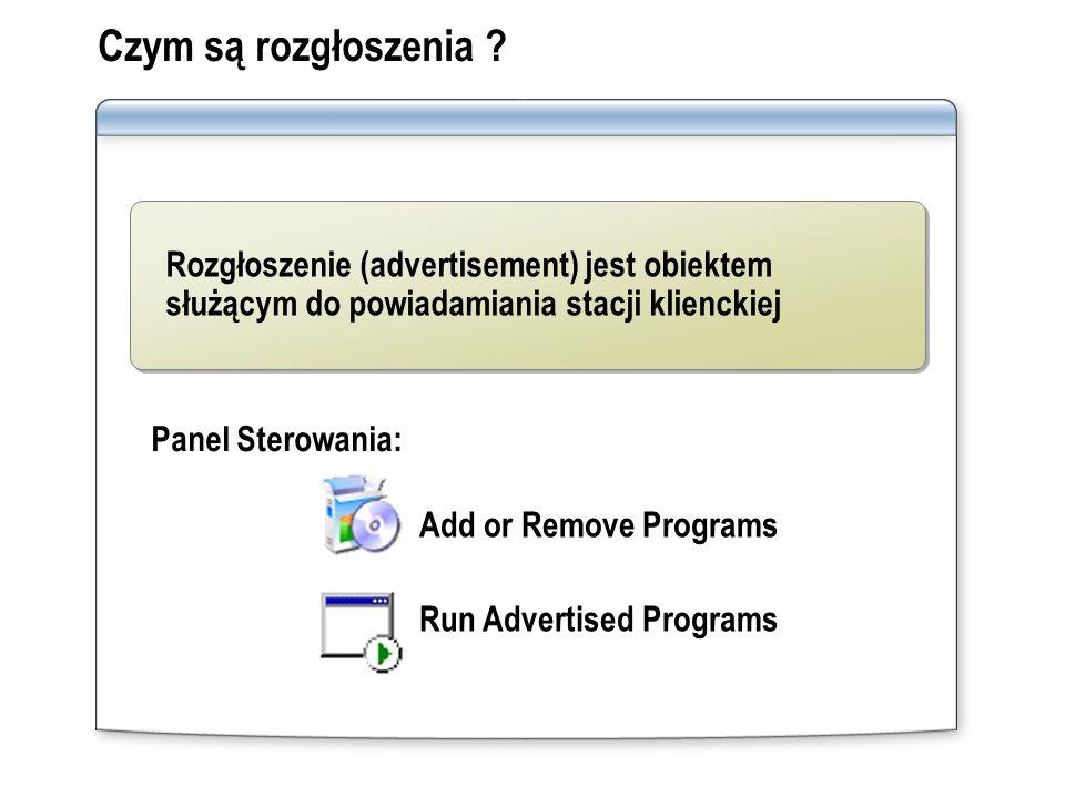 Czym są rozgłoszenia ? Panel Sterowania: Add or Remove Programs Run Advertised Programs Rozgłoszenie (advertisement) jest obiektem służącym do powiada