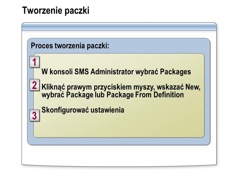 Proces tworzenia paczki: Tworzenie paczki W konsoli SMS Administrator wybrać Packages Kliknąć prawym przyciskiem myszy, wskazać New, wybrać Package lu