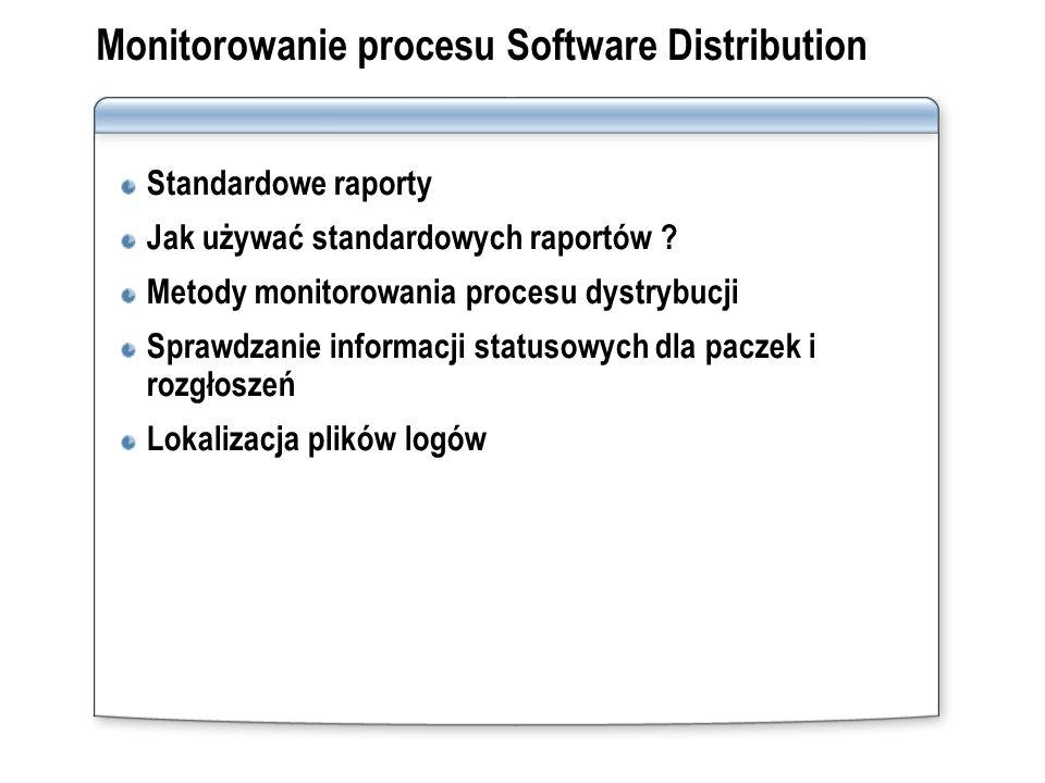 Monitorowanie procesu Software Distribution Standardowe raporty Jak używać standardowych raportów ? Metody monitorowania procesu dystrybucji Sprawdzan