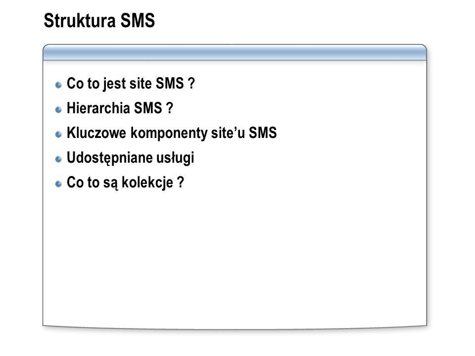 Struktura SMS Co to jest site SMS ? Hierarchia SMS ? Kluczowe komponenty siteu SMS Udostępniane usługi Co to są kolekcje ?