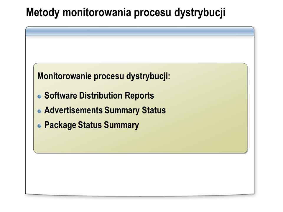 Metody monitorowania procesu dystrybucji Monitorowanie procesu dystrybucji: Software Distribution Reports Advertisements Summary Status Package Status
