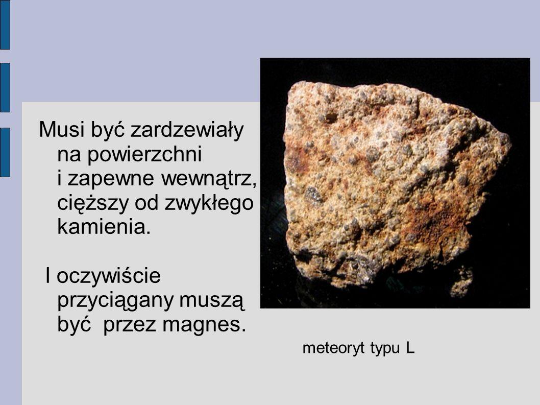 Musi być zardzewiały na powierzchni i zapewne wewnątrz, cięższy od zwykłego kamienia. I oczywiście przyciągany muszą być przez magnes. meteoryt typu L