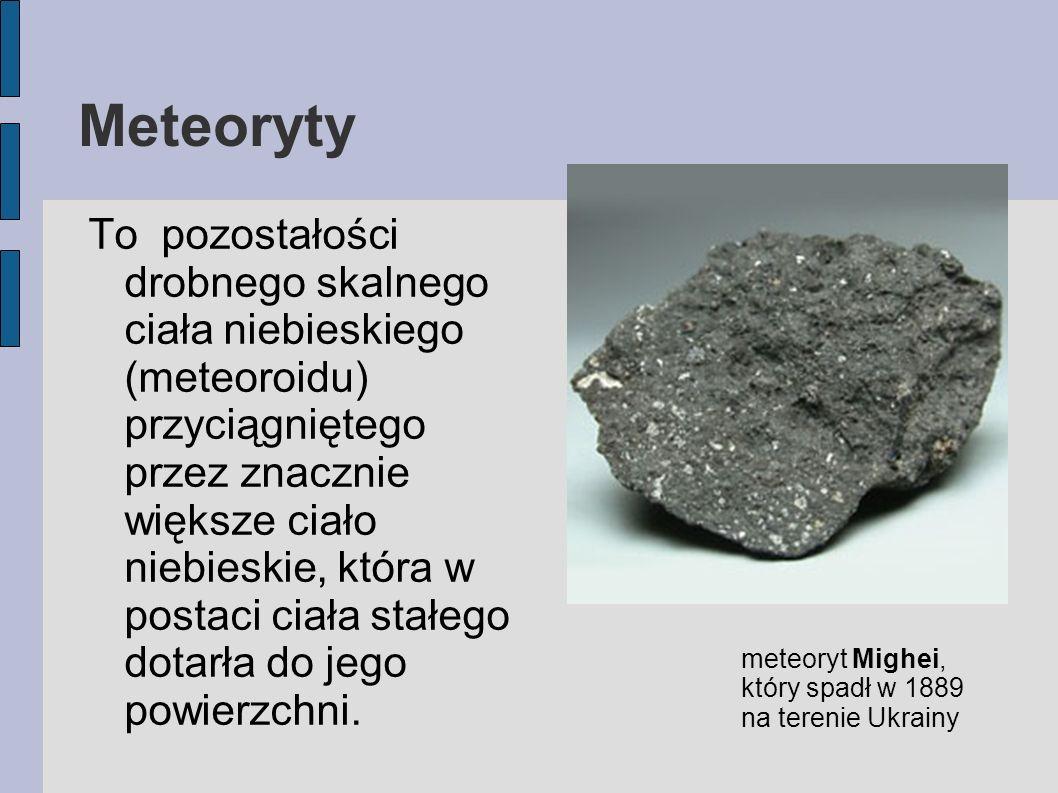 Meteoryty To pozostałości drobnego skalnego ciała niebieskiego (meteoroidu) przyciągniętego przez znacznie większe ciało niebieskie, która w postaci c