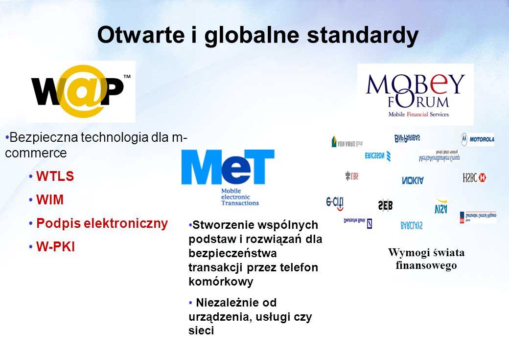 Otwarte i globalne standardy Wymogi świata finansowego Bezpieczna technologia dla m- commerce WTLS WIM Podpis elektroniczny W-PKI Stworzenie wspólnych podstaw i rozwiązań dla bezpieczeństwa transakcji przez telefon komórkowy Niezależnie od urządzenia, usługi czy sieci