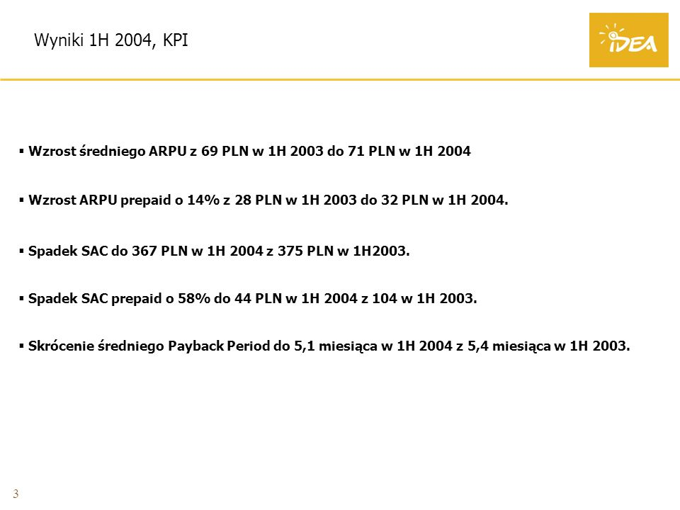 3 Wyniki 1H 2004, KPI Wzrost średniego ARPU z 69 PLN w 1H 2003 do 71 PLN w 1H 2004 Wzrost ARPU prepaid o 14% z 28 PLN w 1H 2003 do 32 PLN w 1H 2004.