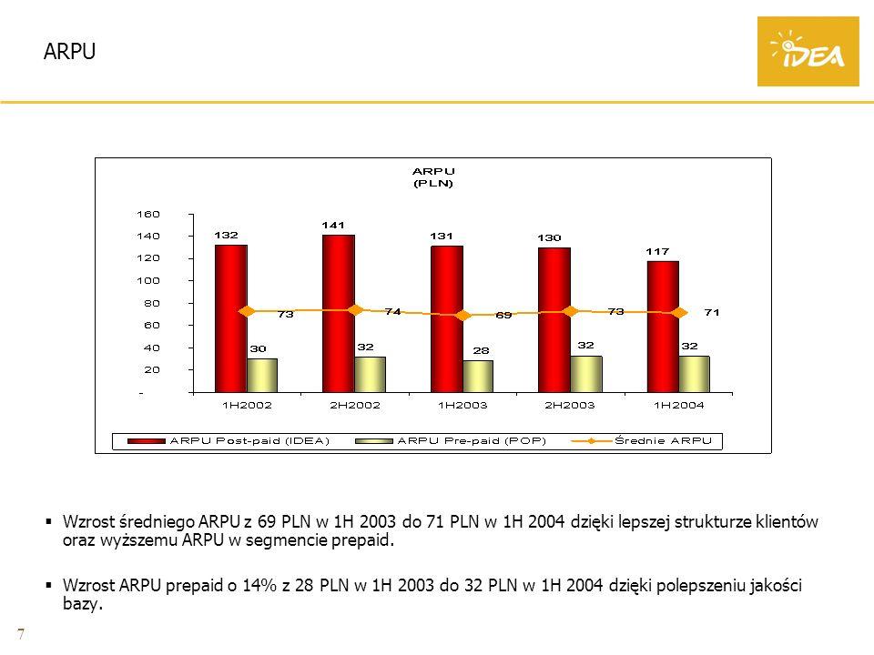 7 ARPU Wzrost średniego ARPU z 69 PLN w 1H 2003 do 71 PLN w 1H 2004 dzięki lepszej strukturze klientów oraz wyższemu ARPU w segmencie prepaid.