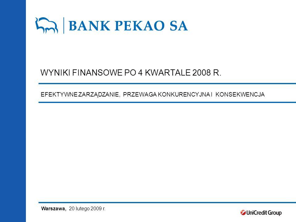 WYNIKI FINANSOWE PO 4 KWARTALE 2008 R. Warszawa, 20 lutego 2009 r.