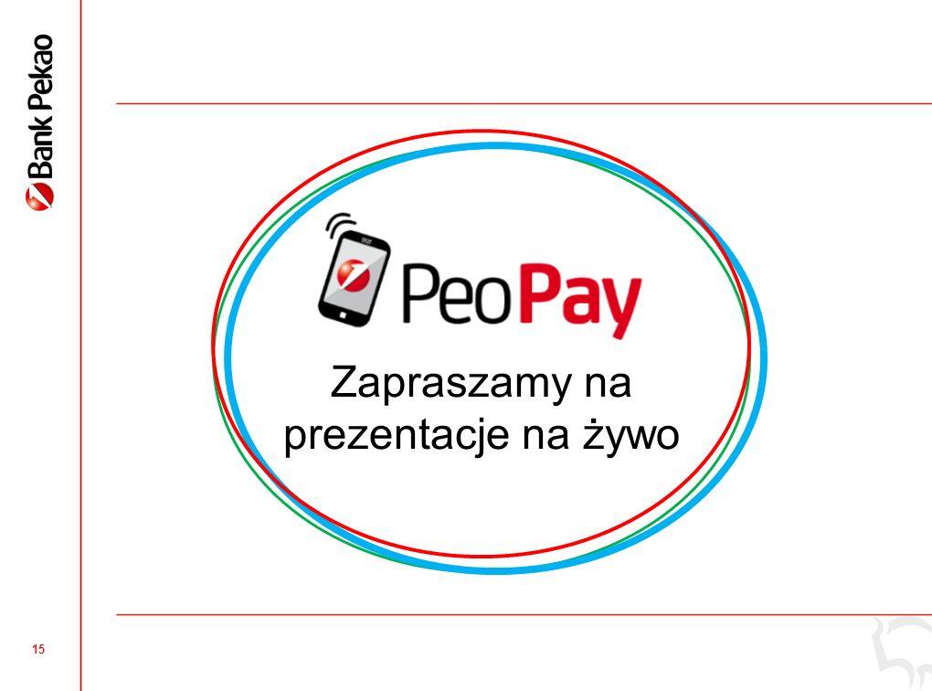 14 Dodatkowe opcje i możliwości Możliwość dodawania wielu kasjerów w jednej aplikacji Możliwość przyjmowania płatności PeoPay także przez NFC Bezpieczeństwo – osobne ePINy dla każdego użytkownika aplikacji Raporty i zestawienia