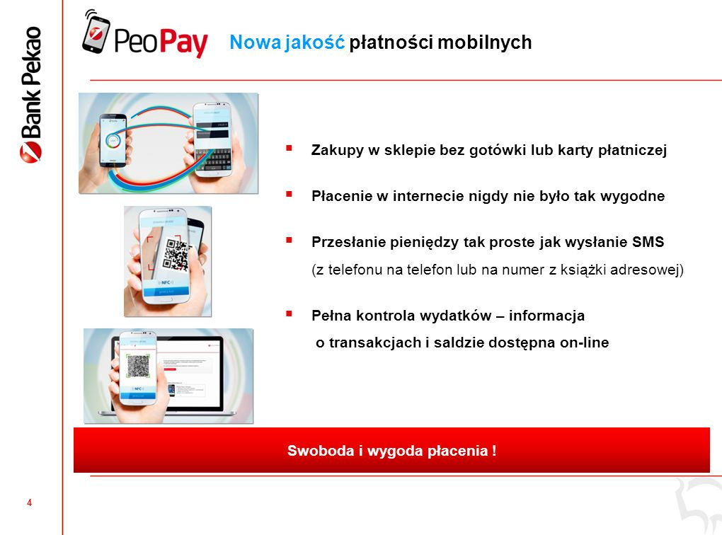 3 Bank Pekao wdraża pierwszy w Polsce kompleksowy system płatności mobilnych i akceptacji płatności mobilnych Nowoczesny i wygodny sposób płacenia, bez konieczności posiadania gotówki !