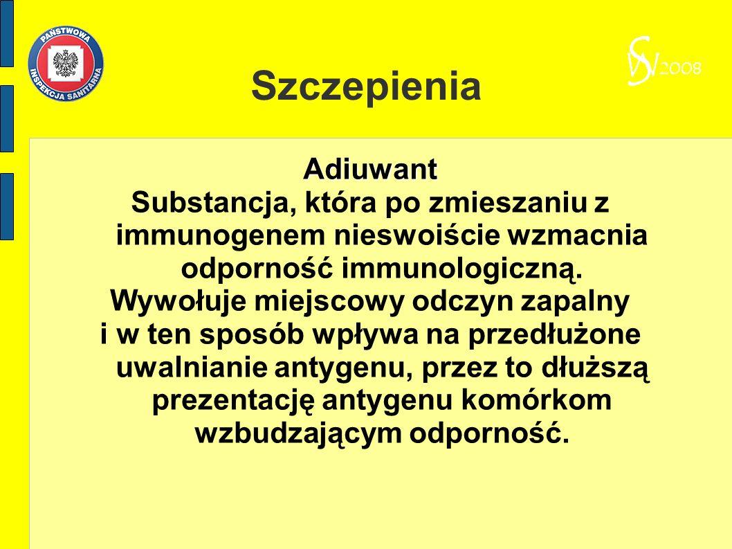 Szczepienia Adiuwant Substancja, która po zmieszaniu z immunogenem nieswoiście wzmacnia odporność immunologiczną. Wywołuje miejscowy odczyn zapalny i