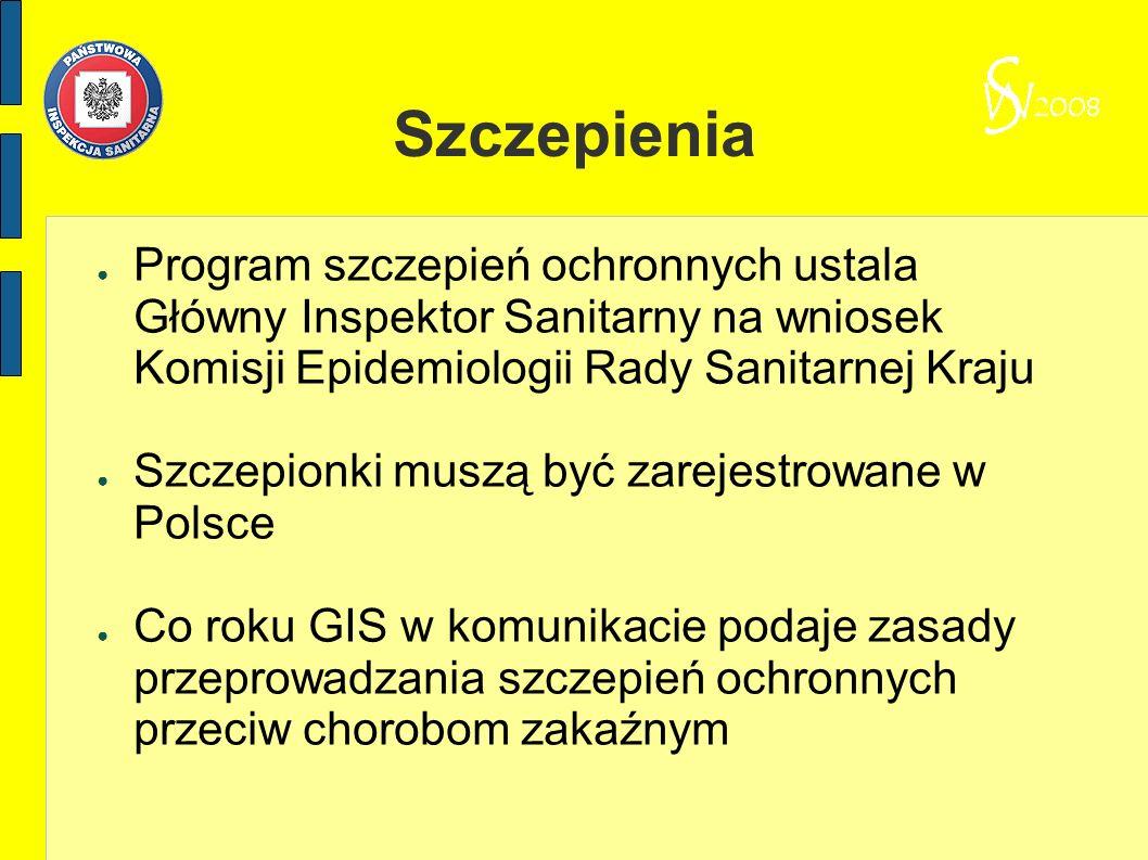 Szczepienia Program szczepień ochronnych ustala Główny Inspektor Sanitarny na wniosek Komisji Epidemiologii Rady Sanitarnej Kraju Szczepionki muszą by