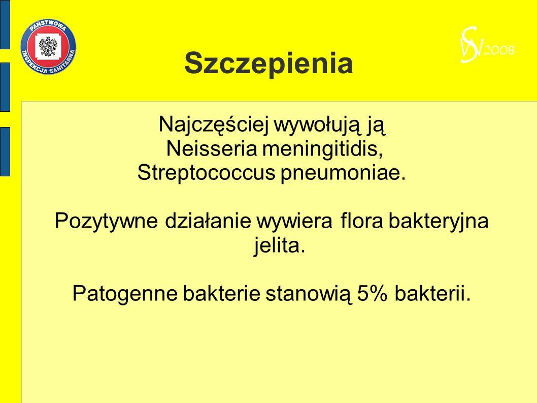 Szczepienia Najczęściej wywołują ją Neisseria meningitidis, Streptococcus pneumoniae. Pozytywne działanie wywiera flora bakteryjna jelita. Patogenne b